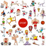 Cartoon people and sports large set vector illustration