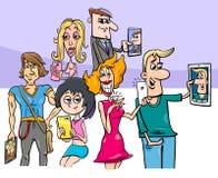 Cartoon group of people doing selfie photos stock illustration
