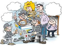 Cartoon illustration of people there read newspaper Royalty Free Stock Photo