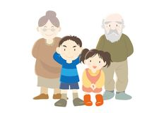 Happy families image - Grandparent and children - B Type royalty free illustration