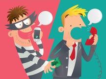 Cartoon illustration of a phone deception. Stock Photography