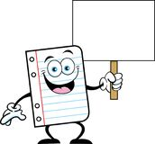 Cartoon piece of notebook paper holding a sign. Royalty Free Stock Photo