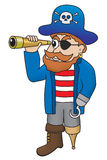 Cartoon illustration of pirate looking through a spyglass Royalty Free Stock Photos