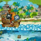 Cartoon illustration - pirates on the wild island stock illustration