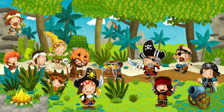 Cartoon illustration - pirates on the wild island Royalty Free Stock Photos