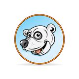 Cartoon Illustration of a Polar Bear Head. Royalty Free Stock Photos