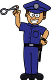 Cartoon illustration of a policeman with handcuffs Royalty Free Stock Image