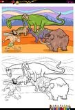 Cartoon prehistoric characters coloring book Royalty Free Stock Photo