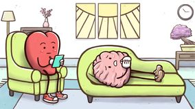 Psychologist heart in a therapy session with a patient brain on couch. Cartoon illustration of a psychologist heart in a therapy session with a sad brain lying vector illustration