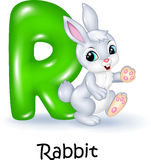 Cartoon illustration of R letter for Rabbit Royalty Free Stock Photo