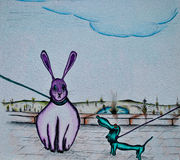 A cartoon illustration of a rabbit standing. Royalty Free Stock Images
