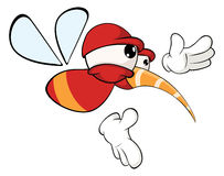 Cartoon illustration of a red fly insect for a computer game Royalty Free Stock Images