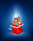 Cartoon illustration of red sack with contains gift on a blue background Stock Images