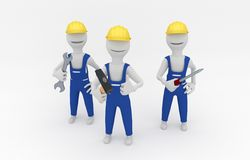 Cartoon illustration of repairmen holding tools Stock Photography