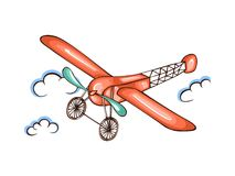 Cartoon  illustration retro airplane in sky Royalty Free Stock Images
