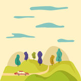 Cartoon illustration. Road trip through the fields Royalty Free Stock Images