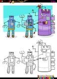 Robots fantasy characters group coloring book Royalty Free Stock Photo