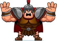 Cartoon Centurion Scared. A cartoon illustration of a Roman centurion looking scared Royalty Free Stock Photography