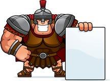 Cartoon Centurion Sign. A cartoon illustration of a Roman centurion with a sign Stock Photo