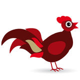 Cartoon illustration of a rooster on a white background. Stock Photos