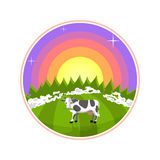Cartoon illustration of rural areas. Cow in the field at sunrise. Foggy meadow with a cow, forest and sun on background. Cartoon illustration of rural areas. Cow Stock Photo