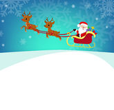 Cartoon illustration of Santa Claus in his sleigh. Stock Photography