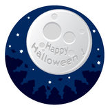 Cartoon illustration with scary moon Stock Photography