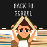 Cartoon illustration with school pupil in the classroom.Nappis back to school. Vector Royalty Free Stock Images