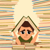 A cartoon illustration of a school student in the library. Vector Stock Image