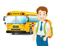 Cartoon illustration of schoolboy and school bus Stock Images