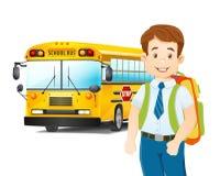 Cartoon illustration of schoolboy and school bus. Vector Stock Images