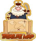 Cartoon Sea Captain Treasure Map Stock Photo