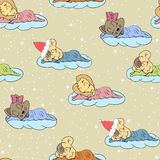 A cartoon illustration of seamless pattern hand drawing of a sleeping babies. Suitable for interior design baby room or bed linen. Stock Photography