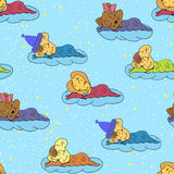A cartoon illustration of seamless pattern hand drawing of a smiling sleeping babies. Suitable for interior design baby room or be Stock Photos