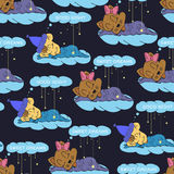 A cartoon illustration of seamless pattern hand drawing of a smiling stars and a sleeping child. Suitable for interior design baby Stock Photos