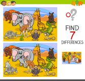Search differences game with wild animals. Cartoon Illustration of Searching Differences Between Pictures Educational Activity Game for Children with Wild Animal Royalty Free Stock Image