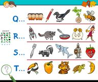 First letter educational game for kids. Cartoon Illustration of Searching Pictures Starting with Referred Letter Educational Game Worksheet for Kids Royalty Free Stock Photography