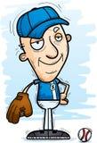 Confident Cartoon Senior Baseball Player. A cartoon illustration of a senior citizen man baseball player looking confident stock illustration