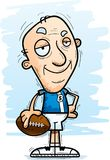 Confident Cartoon Senior Football Player. A cartoon illustration of a senior citizen man football player looking confident vector illustration