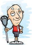 Confident Cartoon Senior Lacrosse Player. A cartoon illustration of a senior citizen man lacrosse player looking confident vector illustration