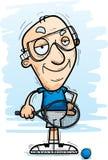 Confident Cartoon Senior Racquetball Player. A cartoon illustration of a senior citizen man racquetball player looking confident stock illustration