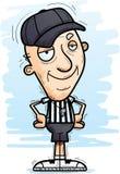 Confident Cartoon Senior Referee. A cartoon illustration of a senior citizen man referee looking confident royalty free illustration