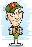 Confident Cartoon Senior Citizen Scout. A cartoon illustration of a senior citizen man scout looking confident royalty free illustration