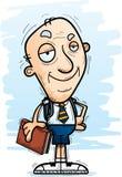 Confident Cartoon Senior Citizen Student. A cartoon illustration of a senior citizen man student looking confident royalty free illustration