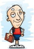 Confident Cartoon Senior Citizen Student. A cartoon illustration of a senior citizen man student looking confident stock illustration