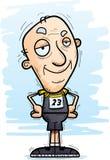Confident Cartoon Senior Track Athlete. A cartoon illustration of a senior citizen man track and field athlete looking confident stock illustration