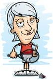 Confident Cartoon Senior Badminton Player. A cartoon illustration of a senior citizen woman badminton player looking confident stock illustration