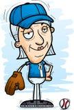 Confident Cartoon Senior Baseball Player. A cartoon illustration of a senior citizen woman baseball player looking confident stock illustration