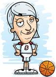 Confident Cartoon Senior Basketball Player. A cartoon illustration of a senior citizen woman basketball player looking confident royalty free illustration