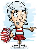 Angry Cartoon Senior Citizen Cheerleader. A cartoon illustration of a senior citizen woman cheerleader looking angry and pointing stock illustration